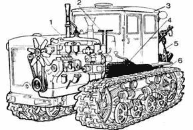 Чертеж гусеничного трактора Т-130