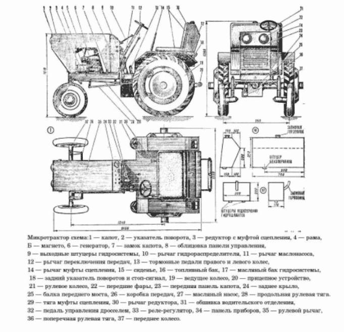 Чертеж минитрактора из ВАЗ