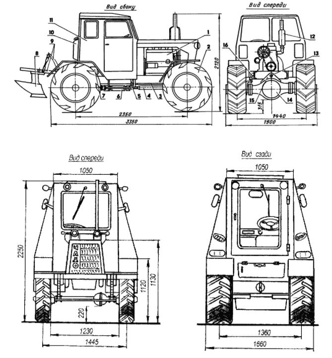 Чертежи трактора на базе автомобиля ГАЗ