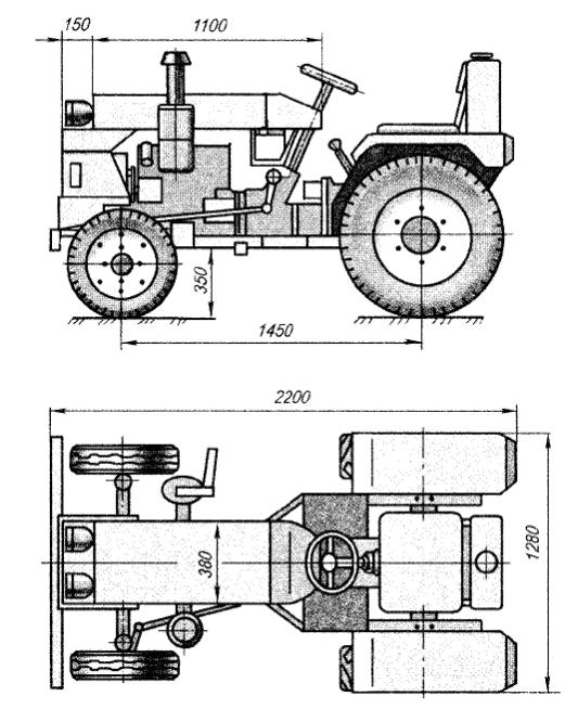 Изготовление самодельного трактора из Жигулей, чертеж